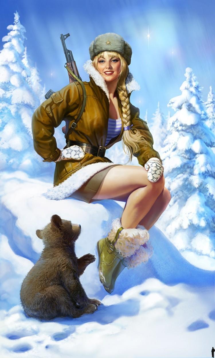 Женщина и зима открытки